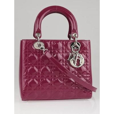 Christian Dior Fuchsia Patent Leather Lady Dior Cannage Lambskin Leather Medium Tote Bag