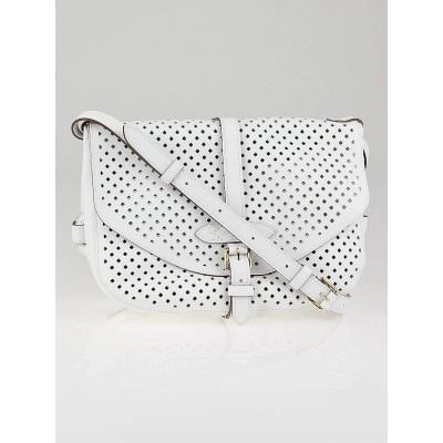Louis Vuitton White Flore Perforated Leather Saumur Bag