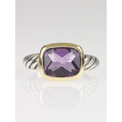 David Yurman 18k Gold and Amethyst Noblesse Cable Ring Size 7