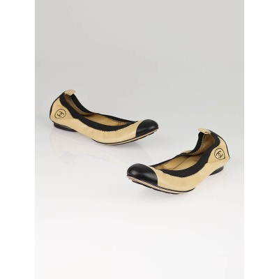 Chanel Beige/Black Leather Elastic Ballet Flats Size 9/39.5