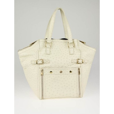 Yves Saint Laurent  Ivory Ostrich Leather Medium Downtown Tote Bag