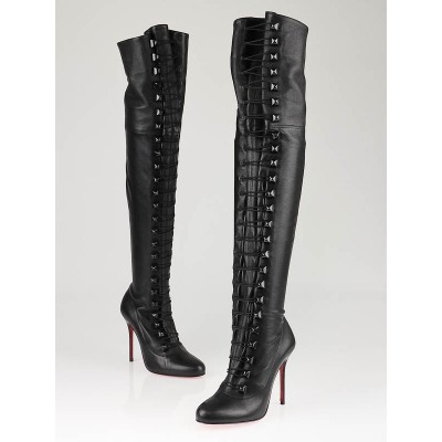 Christian Louboutin Black Leather Supra Fifre 100 Thigh-High Boots Size 6/36.5