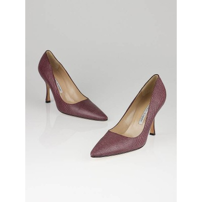 Manolo Blahnik Purple Lizard Embossed Pumps Size 8/38.5