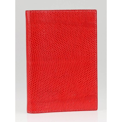 Hermes Red Lizard Skin Small Notebook