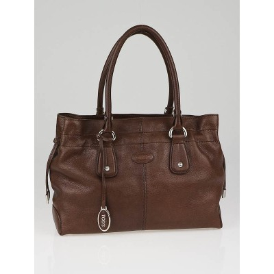 Tod's Brown Leather Restyling  D-Bag Media Tote Bag