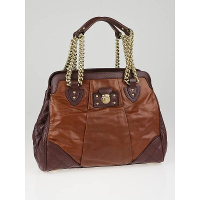 Marc Jacobs Cognac Leather Mix Quilted Classic East-West Tote Bag