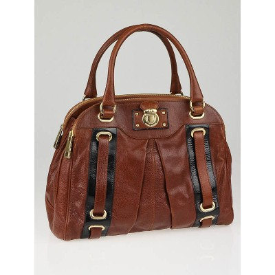 Marc Jacobs Chestnut Leather Striping Hudson Tote