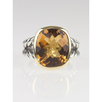 David Yurman 18k Gold 14mm Citrine Noblesse Ring Size 6