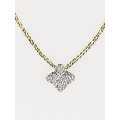 David Yurman 18k Gold 14mm Pave Diamond Quatrefoil Double Strand Necklace