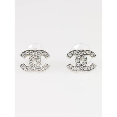 Chanel Swarovski Crystal Classic CC Logo Earrings