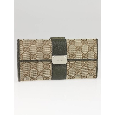 Gucci Beige/Green GG Canvas Continental Long Wallet