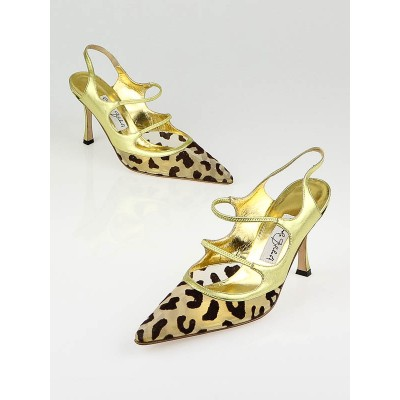 Manolo Blahnik Gold Leather Leopard Mesh Boetony Strappy Sandals Size 8/38.5
