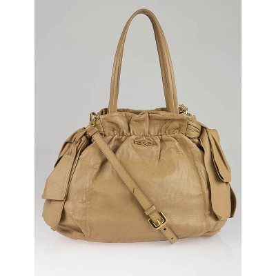 Prada Tan Nappa Antique Small Bow Bag BN1760