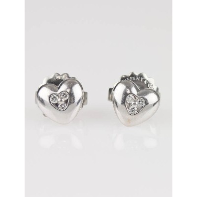 Tiffany & Co. 18k White Gold and Diamond Heart Stud Earrings