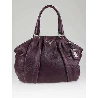 Prada Purple Cervo Leather Antik Bowler Bag BL0535