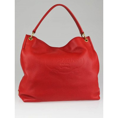 Prada Fuoco Vitello Daino Leather Sacca Hobo BN2097