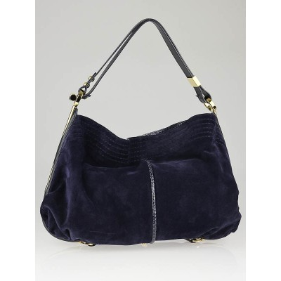 Jimmy Choo Navy Blue Suede Python Trim Ayse Shoulder Bag