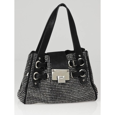 Jimmy Choo Black Leather and Swarovski Crystal Roquette Bag