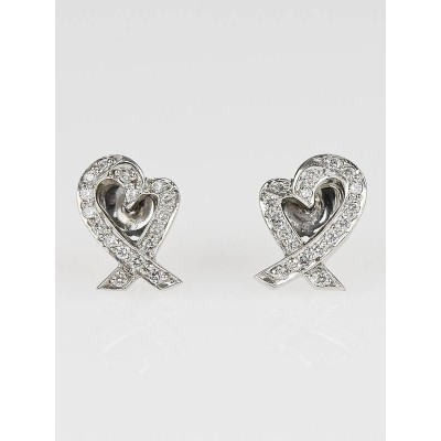 Tiffany and Co. Platinum and Diamond Paloma Picasso Loving Heart Stud Earrings