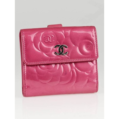 Chanel Pink Patent Leather Camellia Embossed Compact Wallet