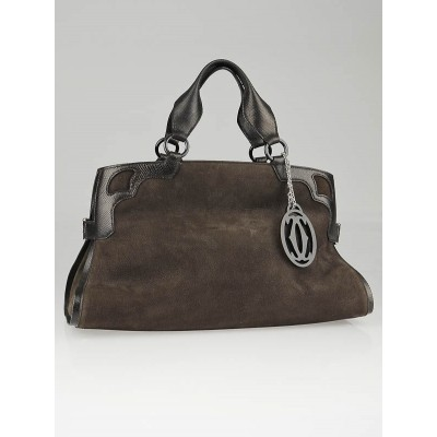 Cartier Brown Suede Nubuck Medium Marcello de Cartier Bag