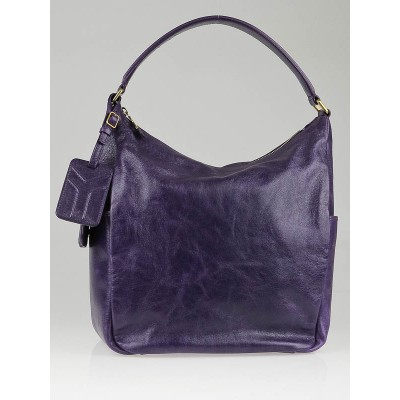 Yves Saint Laurent Purple Patent Leather Multy Medium Hobo Bag