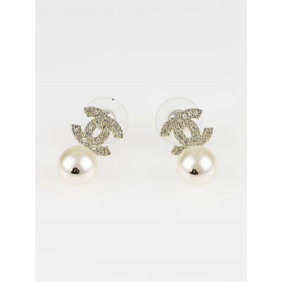 Chanel Goldtone CC Crystal and Pearl Drop Earrings