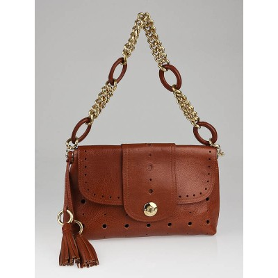 Marc Jacobs Whiskey Brown Perforated Leather Flap Bag
