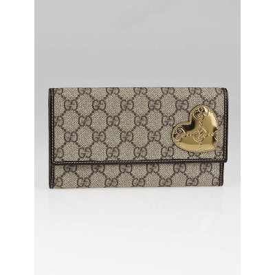 Gucci Beige/Ebony GG Coated Canvas Heart Emblem Wallet