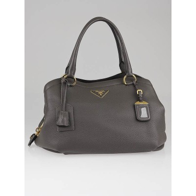 Prada Grigio Cervo Leather Shopping Tote Bag BR4387