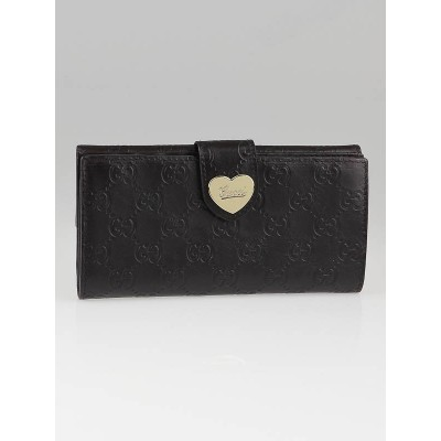 Gucci Dark Brown Guccissima Leather Heart International Long Wallet
