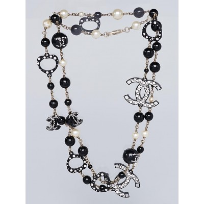 Chanel Black Resin and Swarovski Crystals Beaded CC Long Necklace