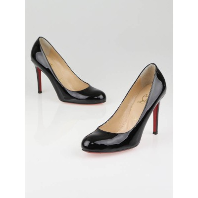 Christian Louboutin Black Patent Leather Simple 100 Pumps Size 6.5/37