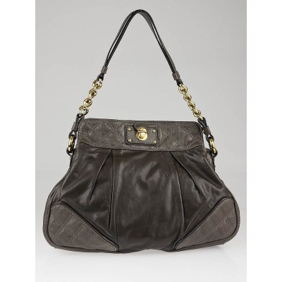 Marc Jacobs Grey Calfskin Leather Mix Quilted Hobo Bag