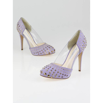 Brian Atwood Orchid Suede Studded Loca Pumps Size 8.5/39