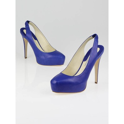 Brian Atwood Dark Blue Leather Debra Slingback Pumps Size 8/38.5