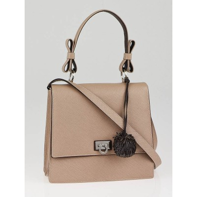 Salvatore Ferragamo Beige Pebbled Leather Renna Satchel Bag