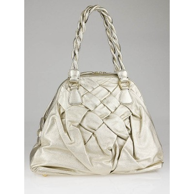 Valentino Garavani Gold Nappa Leather Couture Braided Tote Bag