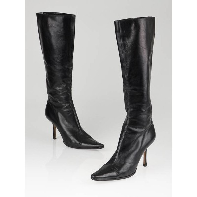 JImmy Choo Black Leather Peony Boots Size 8.5/39
