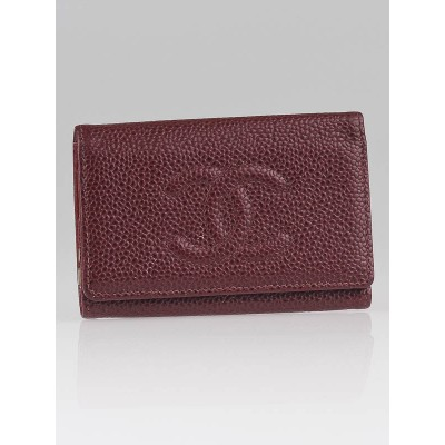 Chanel Red Caviar Leather CC Logo Multicles 6 Key Holder