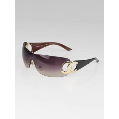 Chanel Brown Rimless CC Logo Shield Sunglasses-4125