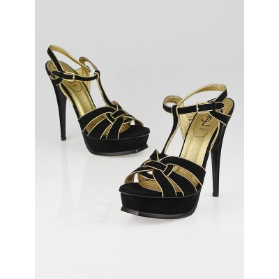 Yves Saint Laurent Black Suede Tribute Sandals Size 8/38.5