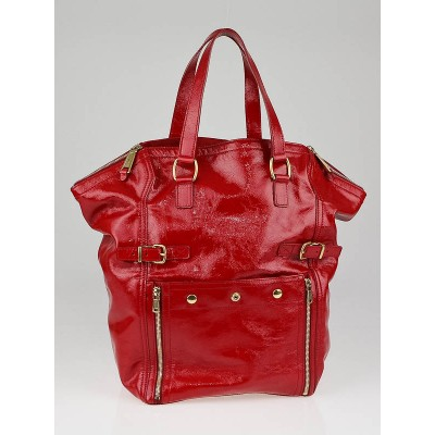 Yves Saint Laurent Red Patent Leather XL Downtown Tote Bag