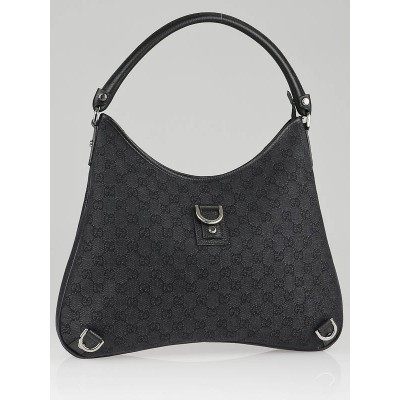 Gucci Black GG Canvas Abbey Large Hobo Bag