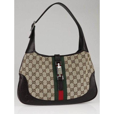 Gucci Beige/Ebony GG Canvas Vintage Web Small Shoulder Bag