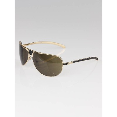 Chanel Gold Frame Brown Tint Aviator Sunglasses- 4140Q