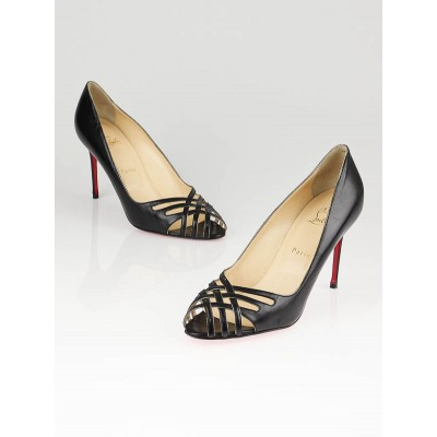 Christian Louboutin Black Leather Croizizi 85 Heels Size 10/40.5