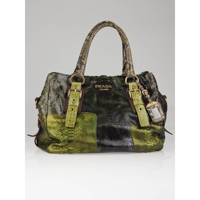 Prada Militaire Python and Crocodile Pitone Patch Tote Bag BR4178