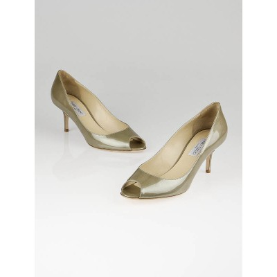 Jimmy Choo Light Khaki Patent Leather Isabel Peep Toe Pumps Size 9.5/40