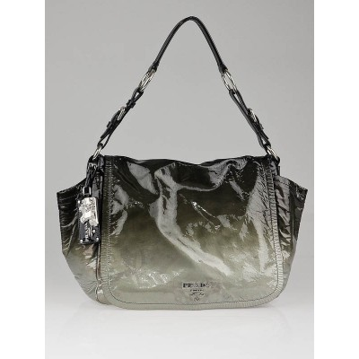 Prada Grey Ombre Patent Leather Flap Shoulder Bag